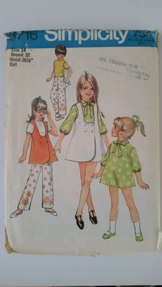 Simplicity 8716 Vintage Sewing Pattern Girls Jumper Tunic Dress Pants