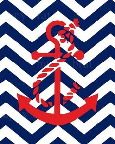 Anchor chevron background blue and red