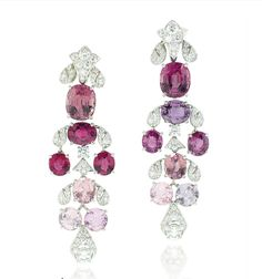 A pair of Spinel and Diamond Ear Pendants, by Cartier. Jewelry Design Drawing, Titanic Jewelry, Diamond Earing, Cartier Jewelry, I Love Jewelry, Diamond Are A Girls Best Friend, Ring Earrings, Beautiful Earrings, Crystal Jewelry