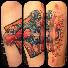 Captain America Shield Tattoo - Mat Lapping http://tattoosgeek.com/comic-book-tattoos/captain-america-shield-tattoo/