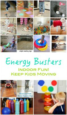 Energy Busters: Indoor Activities - Get Kids Moving - Emma Owl # home activities for 5 year olds Activities For 5 Year Olds, Rainy Day Activities For Kids, Indoor Activities For Toddlers, Preschool Activities, Kids Fun, Summer Activities, Indoor Play For Kids, Crafts For Rainy Days, Physical Activities