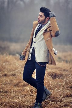Good color combination.  Love the cream cardigan and the elbow patches on the coat.
