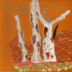 Ghost Gums by Jan Pilgrim. Jan will be teaching this project at the Koala Conventions International Embroidery & Textile Event 4th - 12th July. To view details on over 85 projects please visit www.koalaconventions.com.au