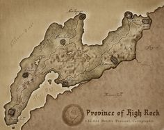 Province of High Rock. Fantasy Fiction, Fantasy Map, Medieval Fantasy, Fantasy World, Elder Scrolls Map, Elder Scrolls Skyrim, Illustrations, Cartography, Vintage World Maps