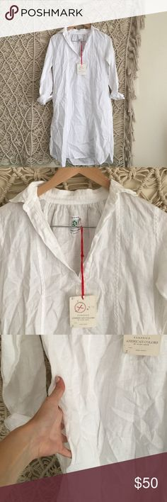 American colors white linen summer dress NWT from small brand American Colors. 100% linen. Under Madewell for views Madewell Dresses