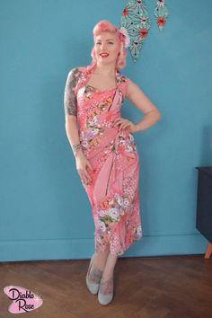 We love Diablo Rose!!! Looking fabulous as always in our Sarong dress in Geisha Bloom Pink! http://www.vivienofholloway.com/ #Vivienofholloway Vivienofhollowaywedding #VivienHolloway #VoH #Vintagereproduction #madeinlondon #1950sstyle #1950sfashion #1950s #1950sglamour #pinupgirl #pinup #rockabilly #rockabillygirl #rockabillyclothing #pinupfashion #1950sDress #1950sHalterneckDress #1950sarongdress