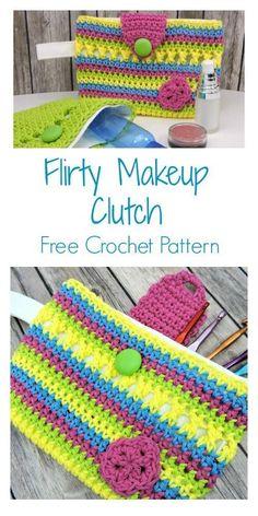 Most current Absolutely Free crochet hook bag Concepts Flirty Makeup Clutch or Crochet Hook Holder Free Crochet Pattern Use it for your make Crochet Handbags, Crochet Purses, Crochet Hooks, Free Crochet, Crochet Bags, Crochet Pouch, Tunisian Crochet, Cotton Crochet, Irish Crochet