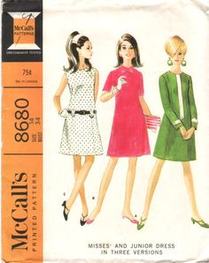 Vintage 60s DRESS Pattern with Princess Seaming by HoneymoonBus, $7.99