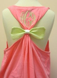 The Original Bow Tank w/Monogram and matching monogram pocket via Etsy do it with gilrls' numbers on the back instead of monogram!