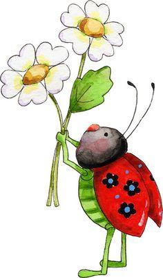"You are my sunshine- Anne Lisbeth Stavland - Álbumes web de Picasa ""Happy Birthday Sunshine! Art Rupestre, Art Fantaisiste, Ladybug Art, Illustration Noel, Watercolor Cards, Whimsical Art, Stone Painting, Rock Art, Cute Drawings"