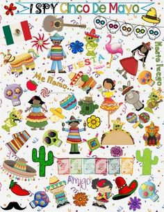This is a game which would be fun to play on Cinco de Mayo. It can be worked on individually or in groups...for fun or as a competitive game! It includes:a full color page a page with colored images and a white backgrounda list of items to spy.You can be creative and create your own type of game with the printouts to put in a center or use to keep early finishers busy.Enjoy!(NOTE: the word page includes words you might want to introduce to younger students before they try this game. Preschool Spanish Lessons, Spanish Lesson Plans, Teaching Spanish, Spring Activities, Kindergarten Activities, Classroom Activities, Multicultural Activities, Speech Activities, Language Activities