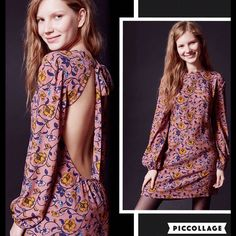 """NWT For Love And Lemons Floral Dress Sz L Retro-modern balloon-sleeve mini dress from ever-romantic label For Love & Lemons in an exclusive collaboration with UO. In a swirling floral print with a sexy cut-out back topped with a sweet, wide tie.  Content + Care - Viscose, rayon - Dry clean  - Model is 5'9"""" and wearing size Small  - Length:  - Chest: For Love and Lemons Dresses Long Sleeve"""