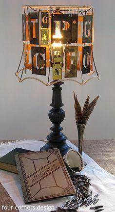 Gorgeous typography lamp via http://fourcornersdesign.blogspot.com/2011/10/give-me-t.html