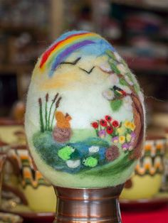 Needle felting white easter egg with animals wool by ElisCraft, $18.00