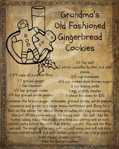 Old Recipes, Vintage Recipes, Cookie Recipes, Dessert Recipes, Retro Recipes, Ginger Bread Cookies Recipe, Recipies, Ginger Cookies, Thai Recipes