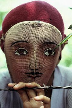 Photo by Susan Meiselas    NICARAGUA.    Traditional Indian dance mask from the town of Monimbo, adopted by the rebels during the fight against Somoza to conceal identity.