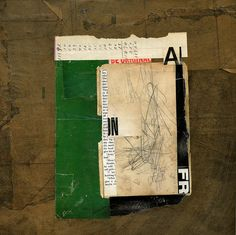 untitled. Paper bags, magazine and vintage papers, acrylic on plywood, 12 x 12 inches, 2011. Kurt Nimmo