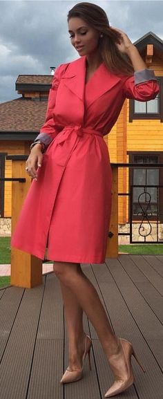 #spring #fashion #outffitideas  Red Trench   Nude Pumps