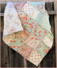 I like the neutral/light Vintage/Shabby Chic look!  Handmade Rag Quilt Girl's Quilt Bedroom Decor by norahsthings $55