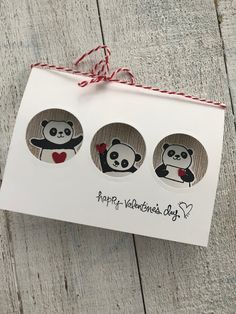 How about a little Valentine card made with the adorable Party Pandas stamp set? You can earn this stamp set free by spending $50 on anything in the catalog. Once you hit the $50.00 you get to pick