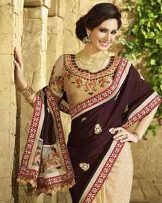 Buy Brown Sarika Designer pallu with embroidered border at happydeal18.com, India's biggest shopping store