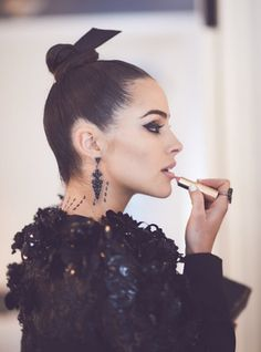 Olivia Culpo getting ready before the 'Manus x Machina:Fashion In An Age Of Technology' Costume Institute Gala 2016