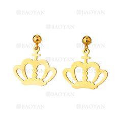 pendientes de corona imperial dorado acero para mujer -SSEGG954530
