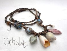 ON TEMPORARY HOLD Artisan Necklace beach shell flax porcelain glass talisman