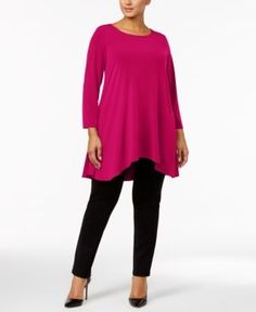 Alfani Plus Size Swing Top, Created for Macy's - Pink 1X