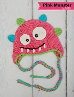 Girl crochet hat, Baby winter hat, Baby girl hat, Monster Crochet hat, Winter toque, 3 to 6 months, toddler girl, photography prop. $16.00, via Etsy.
