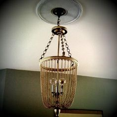 diy beaded chandelier with plastic mardi gras beads from the dollar store _dollar store crafts