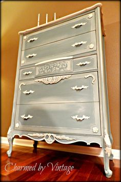 Vintage Shabby French Paris Blue Chest of Drawers.