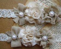 Ivory Lace Garter, Toss Garter, Burlap Wedding garter, Rustic Garter, Burlap Wedding, Ivory Garter
