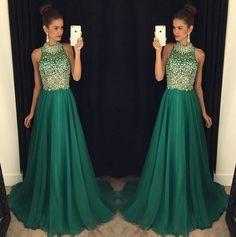 green prom dress, charming prom dress, long prom dress, beaded prom dress, 2017 prom dress, BD502