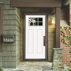 JELD WEN 30 In. X 80 In. Craftsman Primed Left Hand Inswing 6 Lite Clear  Steel Prehung Front Door W/Brickmould