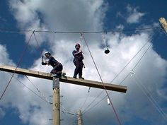 The high ropes course at Kinark Outdoor Centre is great for developing confidence, resilience and trust. The course provides campers and their families with a variety of choices for both team building and individual challenges. http://www.koc.on.ca