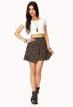 Floral Grunge Skater Skirt | FOREVER 21 - 2000129366
