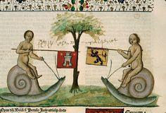 Illustration from Lectura super Institutionibus, by Baldus de Ubaldis, 1480-1481 (BM of Beaune - BM, inc. 003, t. III)