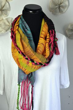 Handwoven scarf in shades of  pink yellow orange and by amberkane,