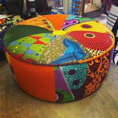 Sit on this: An Afro-technicolour Footstool from Ray Clarke Upholstery & Design