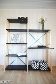 Rintsikka: Klassikko Office Inspiration, Furniture, Shelves, Interior, Home Deco, Room Decor, Ikea Ivar, Shelving, Kid Room Decor