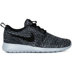 Nike Roshe One Flyknit Sneakers ($117) ❤ liked on Polyvore featuring shoes, sneakers, black, nike, black shoes, lace up shoes, round cap and kohl shoes