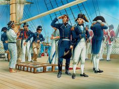 The poop deck of HMS Vanguard at the battle of the Nile, August 1798