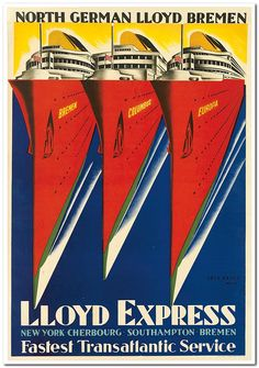 Poster Print Wall Art Entitled Lloyd Express Fastest Transatlantic ServiceVintage None