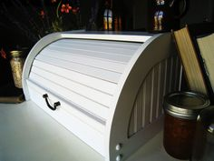 Simple White Roll Top Bread Box Kitchen and by SweetPeaPickers, $45.00