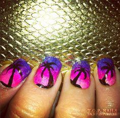70 ideas nail art ideas purple palm trees for 2019 Diy Nail Designs, Nail Designs Spring, Hot Nails, Hair And Nails, Bright Nails, Bright Pink, Pink Purple, Pedicure Nail Art, Pedicure Ideas