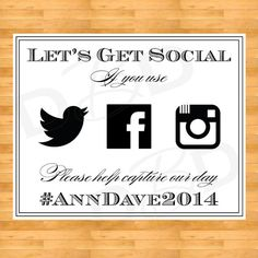 Social Media Wedding Sign - Printable Wedding Sign - Instagram, Twitter, Facebook on Etsy, $15.00