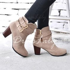Fashionable Buckles and Chunky Heel Design Women's Short Boots 75% OFF
