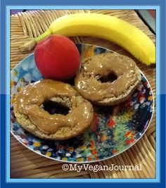 Another delicious & healthy vegan breakfast idea... whole grain bagels with almond butter & fruit! Because fancy photos of meals with 25 ingredients are nice to look at, but let's face it, we usually don't have the time! #MyVeganJournal