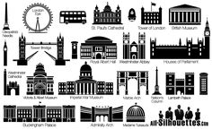 vector london sightseeing all silhouettes Vector London Skyline Silhouette, Westminster Cathedral, Westminster Abbey, Tower Bridge London, Tower Of London, London Art, London Logo, Skyline Von London, Building Silhouette